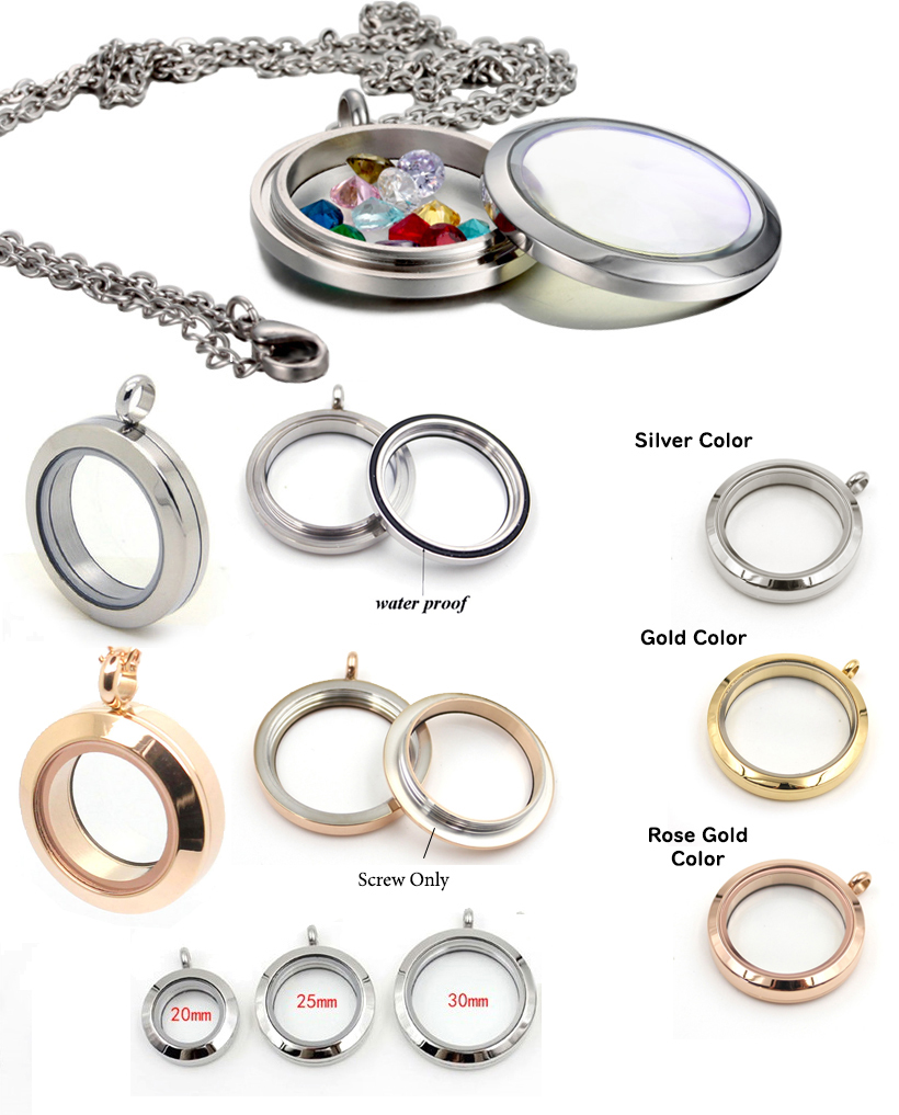 stainless steel round floating glass locket pendant screw type 1 pc mozeypictures Choice Image