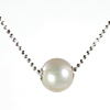 Silver 925 Diamond cut chain White Pearl /1pc