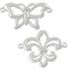 Silver 925 link Butterfly Fleur de lis / 1pc