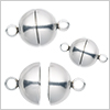Stainless steel magnet clasp round / 1 set