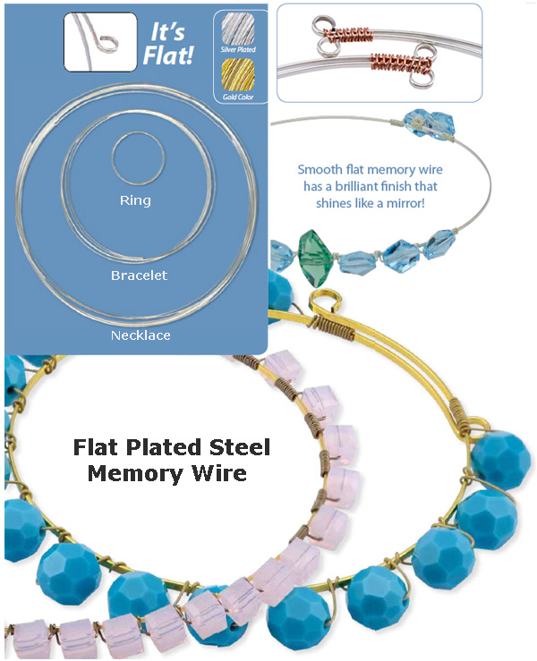 Necklace wire 0.5x1.2mm, Flat Plated Steel (Memory wire)